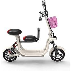 HBC Scooter Ecléctico Recargable de Moda Creativa | para Uso en Parques | Bicicleta Eléctrica Plegable de 580 W para Adultos, Bicicleta Eléctrica Súper Ligera con Luz Led Y Pantalla, Blanco, 8A35