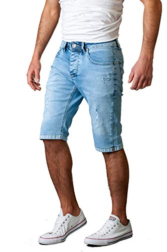Gelverie Herren Shorts Jeans Hochwertige Bermuda Kurze Hose für Männer, Light Blue Denim Used, W38 - Denim-look Leder