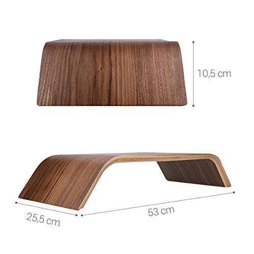 kalibri Bildschirm Holzständer TV Ständer - Computer Tisch Schreibtisch Aufsatz Monitorständer Desktop Bank - Schreibtischaufsatz aus Walnussholz - 4