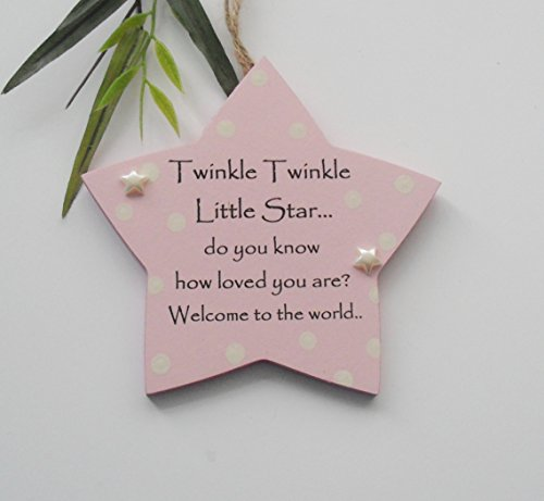 Heart of the Home Gifts Twinkle Twinkle Baby Boy and Girl New Birth Wooden Keepsake Plaque