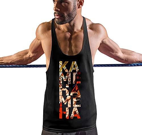 Stylotex Stringer Fitness Tank Top Kamehameha Herren Gym Tshirts für Performance beim Training | Männer ärmellos | Funktionelle Sport Bekleidung, Größe:L, Farbe:schwarz - Dbz Tank Gym