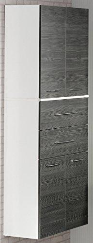 Fackelmann Doppel Hochschrank VADEA / Schrank zum Aufhängen / Badmöbel / Maße (BxHxT): ca. 70,5 x 169 x 32 cm / Korpus Farbe Weiß Hochglanz / Front Farbe Anthrazit / Breite 70,5 cm / Schrank fürs Bad