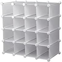 livivo 16 section cube shoe rack organiser with back panels u2013 stylish storage and display stand and holder with