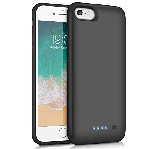 Feob Cover Batteria per iPhone 8/6S/6/7, 6000mAh Custodia Batteria Cover Ricaricabile Portatile Battery Case per Apple iPhone 6/6S/7/8 4.7'' - Black (iPhone 6/6s/7/8 4.7 inch)