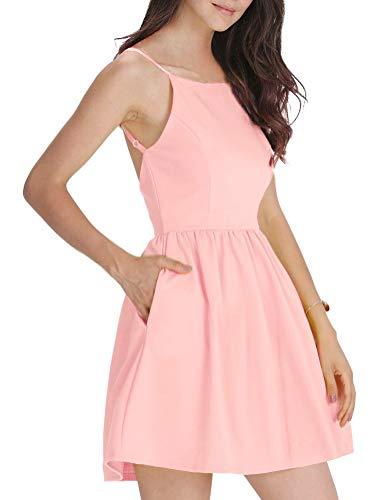 FANCYINN Damen Sommerkleid Armellos Spaghetti-Armband Kleider Elegant Rückenfreies Kurze Kleid Minikleid Rosa S(34-36)