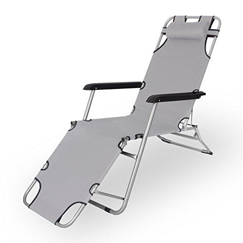 Jalano Gartenliege Liegestuhl faltbar mit Kissen Campingstuhl klappbar, Farbe:grau