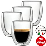 Caffé Italia Roma 4 x 60 ml Bicchieri Termici con Doppio Vetro - per Espresso Bevande Calde e Fredde - Lavabile in lavastoviglie