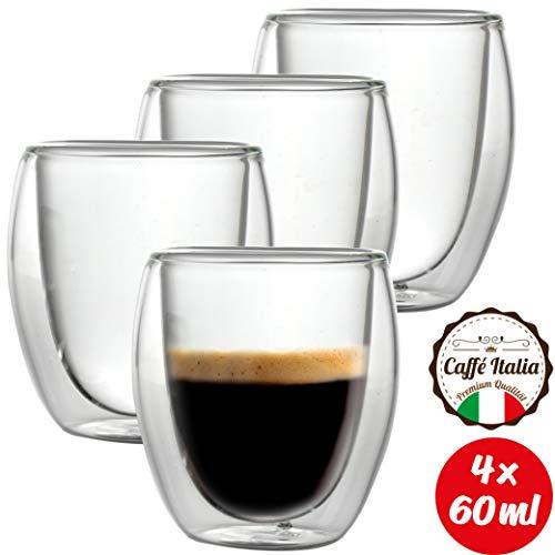 Caffé Italia Roma 4 x Tasse Double Paroi 60 ml - Tasse Expresso 8 cl - Espresso en Verre - Coffret de 4 Tasses à Café Double Paroi - Cadeau Parfait pour Toute Occasion