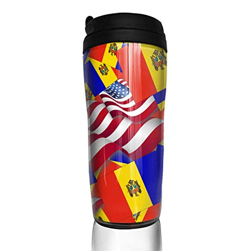 Travel Coffee Mug Moldova Flag with America Flag 12 Oz Spill Proof Flip Lid Water Bottle Environmental Protection Material ABS