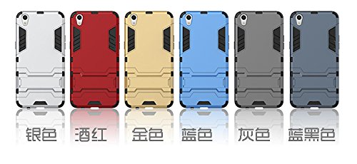 OPPO R9 Fall, 2 in 1 New Armour Tough Art Hybrid Dual Layer Rüstung Defender PC Hard Cases mit Ständer Stoß- Fall für OPPO R9 ( Color : Blue Black , Size : OPPO R9 ) Silver
