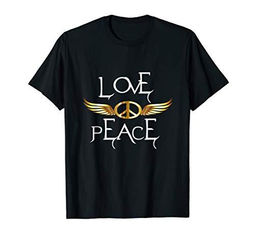 Peace Love Flügel 60er 70er Jahre Hippie-Kostüm T-Shirt (Hippies In Black Jahren Den 60er)