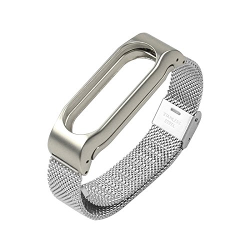 Starcrafter Elegant Schön Rostfreier Stahl Metallisch Xiaomi Mi Band 2 Armband Smartwatch Ersatzarmband für XIAOMI 2 Wireless Armband Zubehör (Silber)