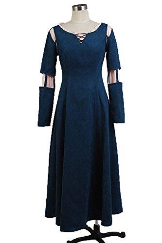 Vivian Brave Princess Merida Dress Cosplay Kostüm Kleid Outfit (Mailen Sie uns Ihre Größe),Größe XL:(170-175 (Erwachsene Merida Für Brave Kostüm)