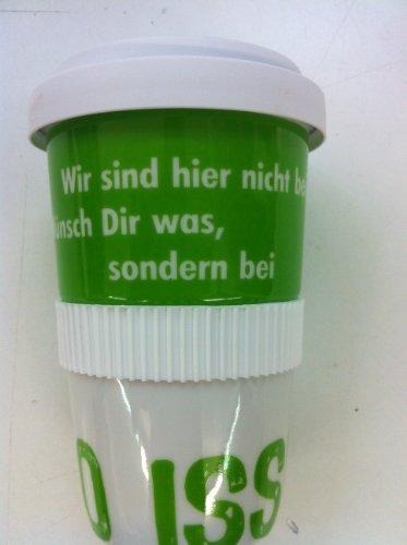 Coffee-to-go-Becher aus Porzellan mit hochwertigem Kunststoffdeckel:Wir sind hier nicht bei wünsch Dir was, sonderdern bei SO ISSES