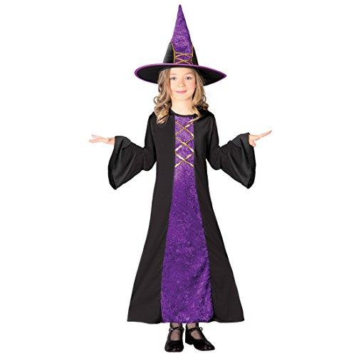 Hexenkleid Mädchen Zauberin Kostüm M 128/134 7 – 9 Jahre Böse Fee Kinderkostüm Märchenkostüm Magierin Faschingskostüm Hexe Halloween Hexenkostüm Kinder (Böse Hexe Kostüm Kinder)