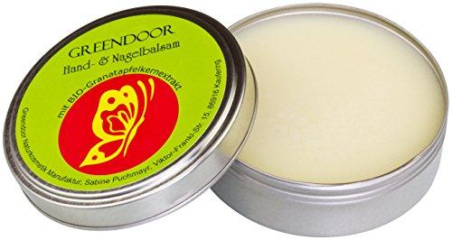 Greendoor HAND-BALSAM Handcreme für trockene Haut, BIO Granatapfel, natürlich ohne Tierversuche, Naturkosmetik ohne Mineralöl / Parabene, 4-fache Ergiebigkeit vs Creme, Nagelbalsam mit Avocadoöl