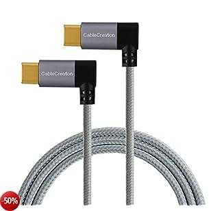 Cavo da USB-C a tipo-C, cablecreation 4ft Dual-Angle intrecciato, per il nuovo MacBook (PRO), Nintendo switch, Nexus 5 X/6P & nuovi dispositivi USB-C, 1,2 m/nero & bianco con alluminio incassato