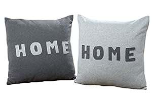 kissen 2er set schriftzug home mit innenfutter grau. Black Bedroom Furniture Sets. Home Design Ideas