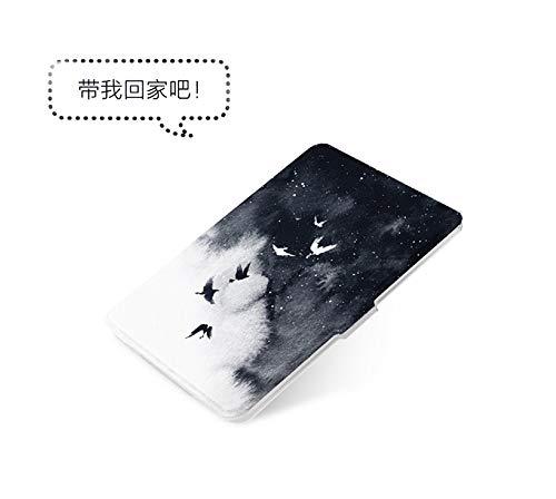 HLCBHT Kindle Paperwhite4 Schutzhülle Fliegender Vogel 10. Generation 6-Zoll-Cartoon-Persönlichkeit E-Reader Schwarzer Unterschale Ruhezustand Leichter Anti-Fall-Ledertasche