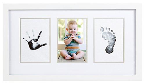 Pearhead 13033 Babyprints Hand/Fußabdruck Bilderrahmen mit Clean-Touch Stempelkissen, weiß