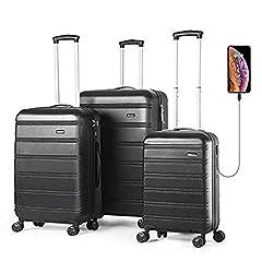 Idea Regalo - REYLEO Set di 3 valigie bagagli ABS con guscio rigido con porta USB, Serratura TSA integrata con ruote di spinner 20 pollici 24 pollici 28 pollici LUG282420A