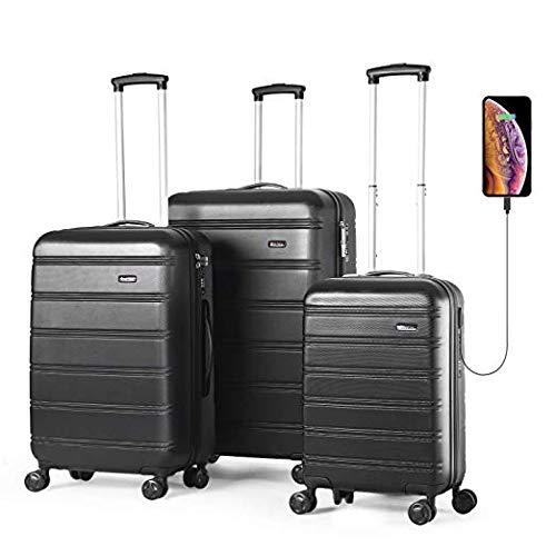 Reyleo set di 3 valigie bagagli abs con guscio rigido con porta usb, serratura tsa integrata con ruote di spinner 20 pollici 24 pollici 28 pollici lug282420a