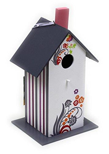 Buntes Vogelfutterhaus aus Holz / Grau / 25 x 12 x 14 cm / Nistkasten