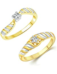 Vighnaharta Two Tone Shine Combo CZ Gold And Rhodium Plated Alloy Finger Ring For Women And Girls - [VFJ1229FRG]
