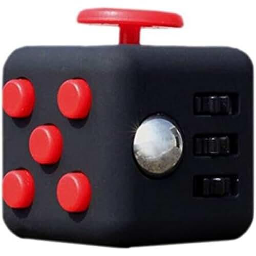 fidget spinner el nuevo juguete de moda Enjoy Juyi Fidget cubo Alivia el estrés y ansiedad para niños y adultos, negro y rojo