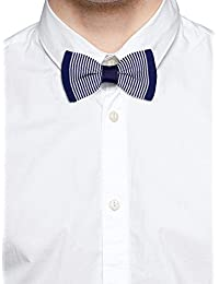 Tossido Knitted Blue Striped Bow Necktie (TBNK32)