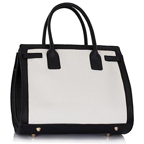 TrendStar Damen Konstrukteur Taschen Damen Für Leinentrage Imitat Leder Handtaschen Schulter Greifen Mode Taschen Schwarz/Weiß