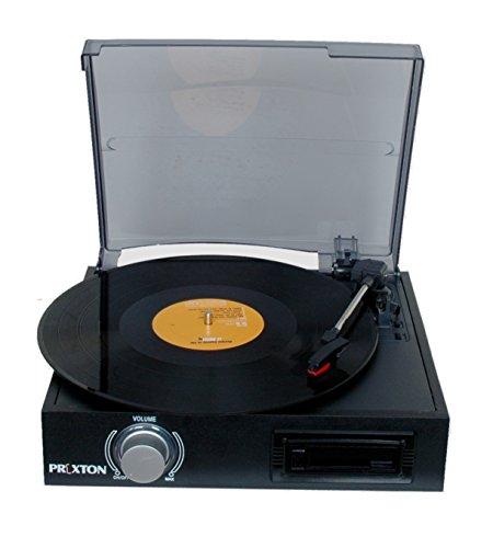 Prixton VC300 - Tocadiscos y Cassette con MP3 Convierte Vinilo, Color Negro