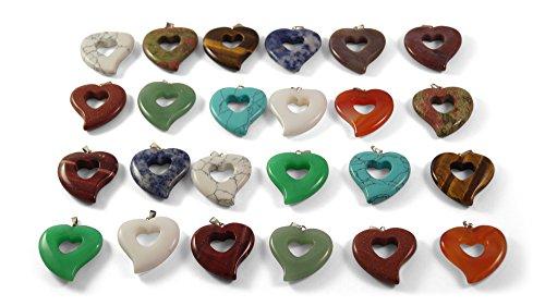 5 Stück Edelstein Herz Anhänger Ketten-Anhänger Chakra Heilsteine u.a. Rosenquarz, Jade, Tigerauge, Amethyst, Lapis-Lazuli, Onyx, Labradorit...
