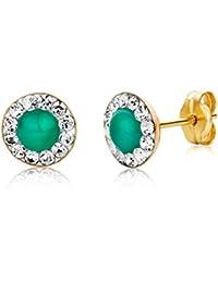 Miore Damen-Ohrstecker 9 Karat (375) Gelbgold Emerald und Swarovski Element