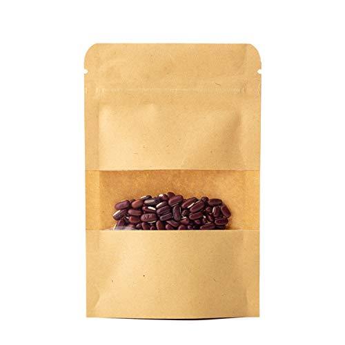 CozofLuv Kleine Braune Papier Beutel Mit Sichtfenster für die verpackung von Kaffee Tee Lebensmittel Stand up Zipper Pouches Bags
