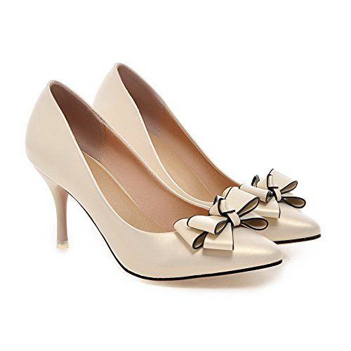 AllhqFashion Damen Pu Spitz Schließen Zehe Stiletto Pumps Schuhe Aprikosen Farbe