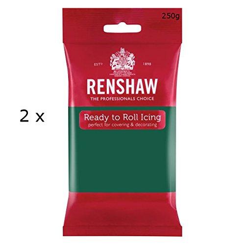 2-x-renshaw-ready-roll-icing-fondant-cake-regalice-sugarpaste-250g-emerald-green