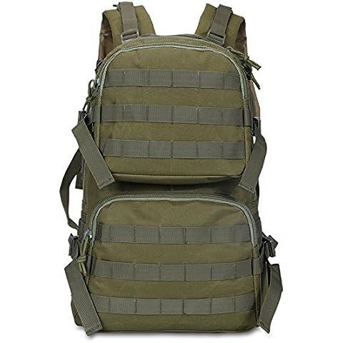 Gli uomini e le donne a piedi tela Assault Pack Camo outdoor sport computer zaino borsa scuola,verde militare