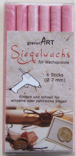 gravurART - 7mm Siegelwachs für Wachspistole - Rosé Perl. - 6er Pack