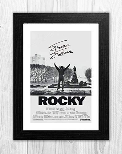 Engravia Digital Rocky Bilbao Tasse/Shot-Reproduktion, Signatur-Poster, Foto, A4 Schwarzer Rahmen (Signatur-foto-rahmen)