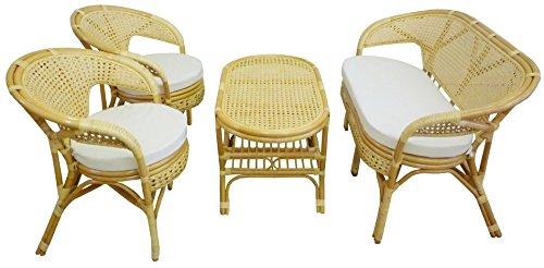 Set completo salotto in vimini bambù e rattan bali chiaro naturale divano poltrone tavolo da giardino balcone terrazzo veranda casa portico