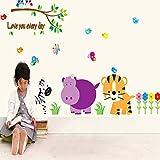 Il mondo animale della stanza dei bambini decorare sulla famiglia decora una parete per attaccare sulla parete