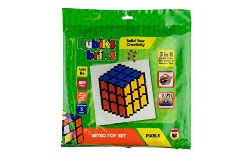 Strictly Briks Rubik's Briks 1x1 Retro Toy Pixel Set | STEM Toys Officially Licensed by Rubik's Cube Makers | 3-in-1 Mosaic Art | Rubiks Cube, Viewer, Cassette Tape | 32x32 Baseplate & 883 Brick Tiles