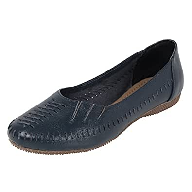 Catwalk Blue Leather Ballerinas for Women's