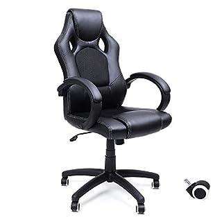 SONGMICS Racing Stuhl Bürostuhl Gaming Stuhl Chefsessel Drehstuhl PU schwarz OBG56B
