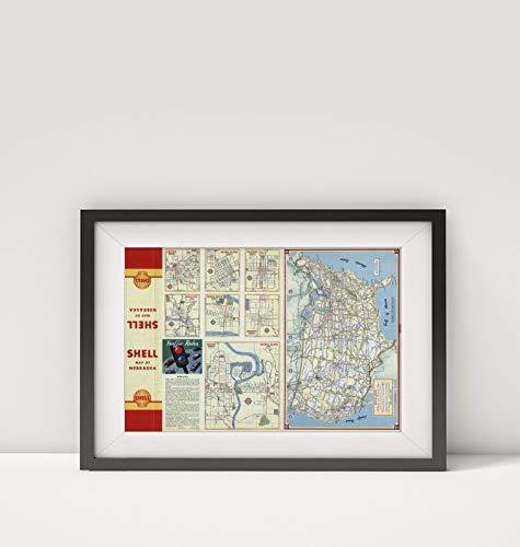 New York Map Company LLC 1949 Karte von verschiedenen Regionen und Städten, in Nebraska, Titel: Lincoln. Sioux City Grand Island North