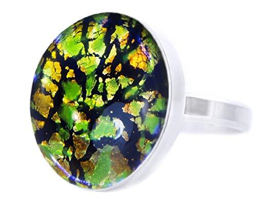 Gold Des Dschungel-Sammlung, Fire Opal Grün Gold Blau Flare, 925 Sterling Silber Runde Klassische Ring, Größe 17 US 8, Handgemachte BohemStyle -