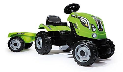 Smoby Toys, 710111, Tracteur Farmer XL + Remorque, Capot Ouvrable, Vert 3032167101112