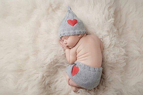 Jastore ® Foto Fotografie Prop süß Baby Kostüm Herz Stricken Handarbeit