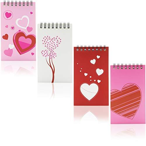 Notizbuch mit Spiralbindung–24er-Packung Mini-Notizbücher, Valentinstags-Design, für Kinder, ideal als Geschenk, sortierte Motive, 7,6x 12,7cm.